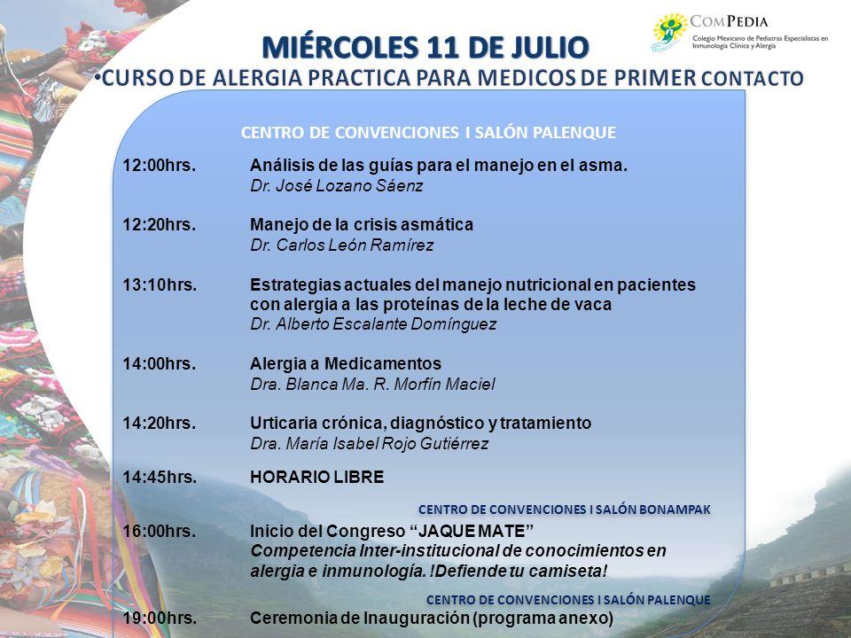 CENTRO DE CONVENCIONES I SALÓN PALENQUE CENTRO DE CONVENCIONES I SALÓN BONAMPAK CENTRO DE CONVENCIONES I SALÓN PALENQUE CENTRO DE CONVENCIONES I SALÓN BONAMPAK CENTRO DE CONVENCIONES I SALÓN PALENQUE 12:00hrs.Análisis de las guías para el manejo en el asma.