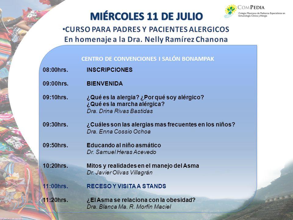 CENTRO DE CONVENCIONES I SALÓN BONAMPAK 08:00hrs.INSCRIPCIONES 09:00hrs.BIENVENIDA 09:10hrs.¿Qué es la alergia.