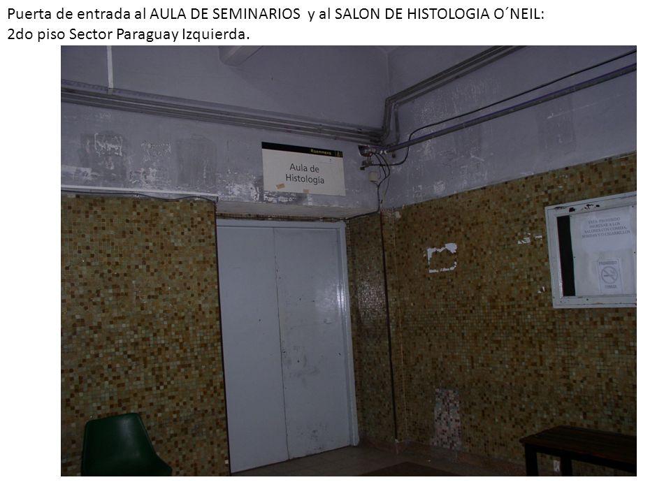 Puerta de entrada al AULA DE SEMINARIOS y al SALON DE HISTOLOGIA O´NEIL: 2do piso Sector Paraguay Izquierda.