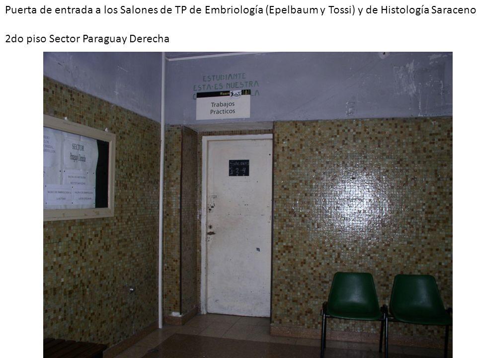 Puerta de entrada a los Salones de TP de Embriología (Epelbaum y Tossi) y de Histología Saraceno 2do piso Sector Paraguay Derecha