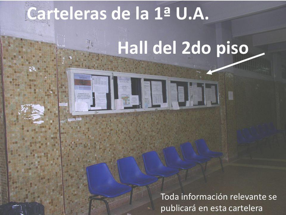Carteleras de la 1ª U.A. Hall del 2do piso Toda información relevante se publicará en esta cartelera