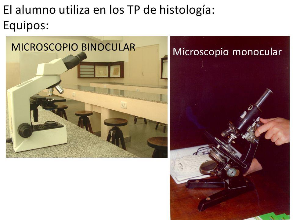 MICROSCOPIO BINOCULAR Microscopio monocular El alumno utiliza en los TP de histología: Equipos: