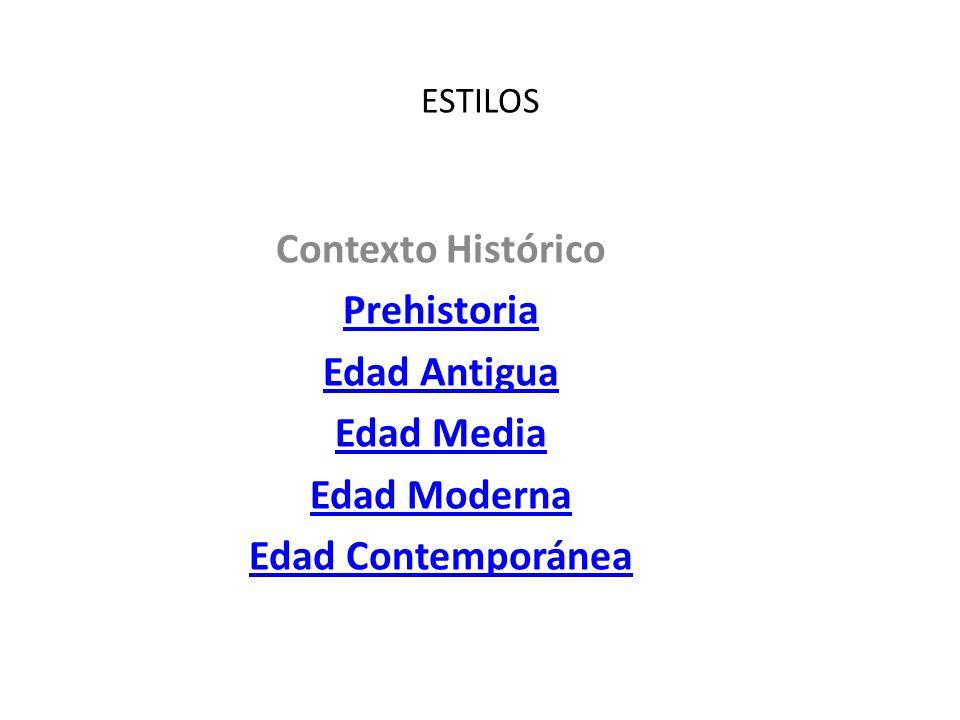ESTILOS Contexto Histórico Prehistoria Edad Antigua Edad Media Edad Moderna Edad Contemporánea