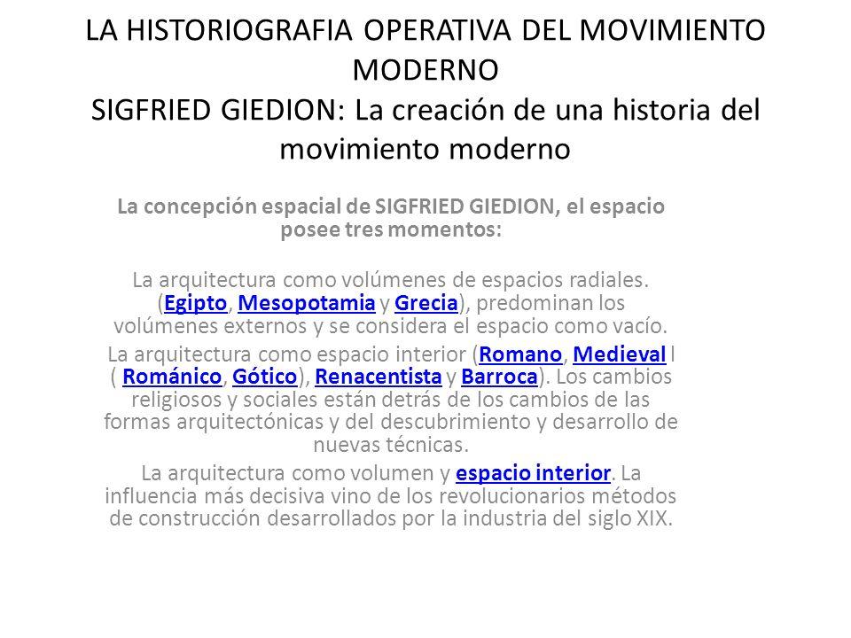 LA HISTORIOGRAFIA OPERATIVA DEL MOVIMIENTO MODERNO SIGFRIED GIEDION: La creación de una historia del movimiento moderno La concepción espacial de SIGF