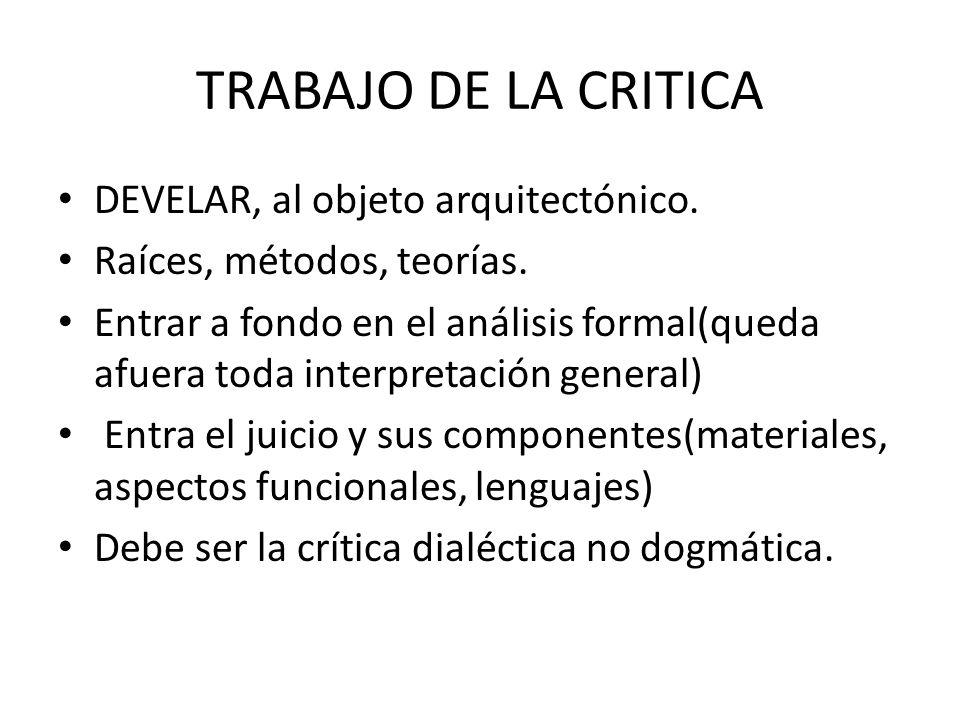 TRABAJO DE LA CRITICA DEVELAR, al objeto arquitectónico. Raíces, métodos, teorías. Entrar a fondo en el análisis formal(queda afuera toda interpretaci
