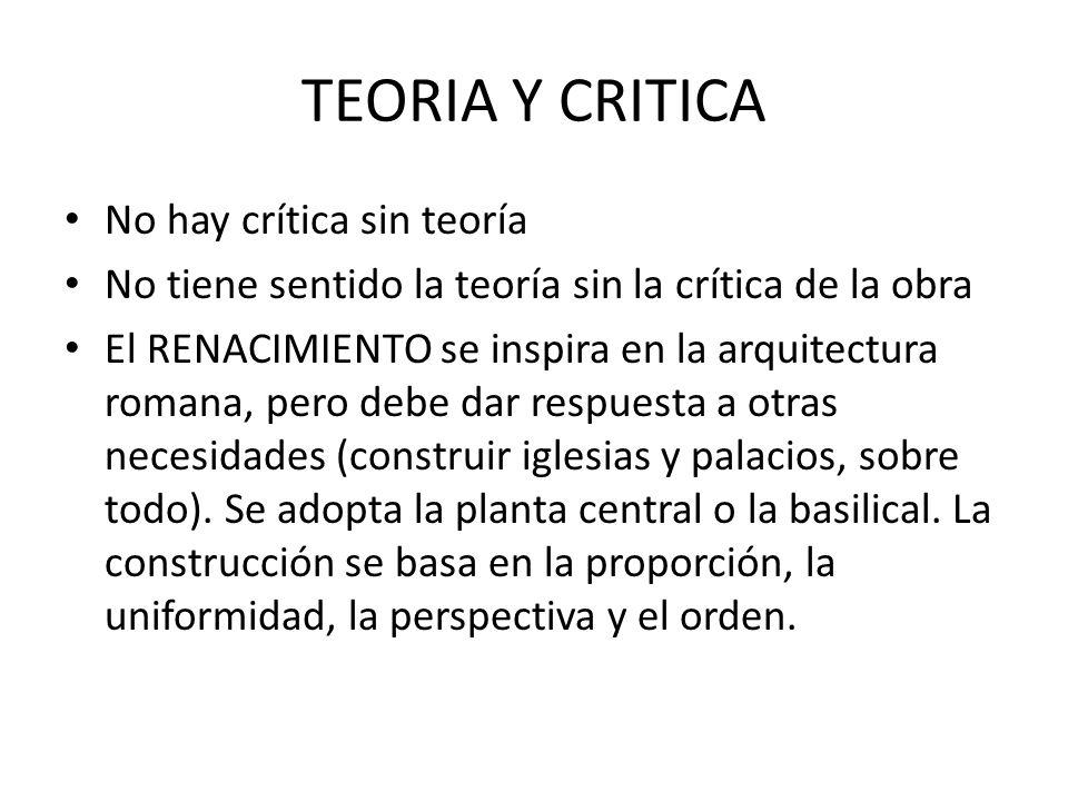 TEORIA Y CRITICA No hay crítica sin teoría No tiene sentido la teoría sin la crítica de la obra El RENACIMIENTO se inspira en la arquitectura romana,