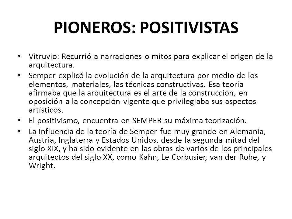 PIONEROS: POSITIVISTAS Vitruvio: Recurrió a narraciones o mitos para explicar el origen de la arquitectura. Semper explicó la evolución de la arquitec