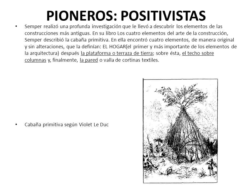 PIONEROS: POSITIVISTAS Semper realizó una profunda investigación que le llevó a descubrir los elementos de las construcciones más antiguas. En su libr
