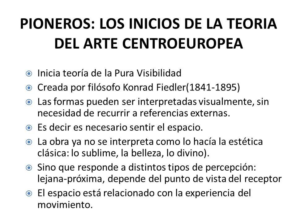 PIONEROS: LOS INICIOS DE LA TEORIA DEL ARTE CENTROEUROPEA Inicia teoría de la Pura Visibilidad Creada por filósofo Konrad Fiedler(1841-1895) Las formas pueden ser interpretadas visualmente, sin necesidad de recurrir a referencias externas.
