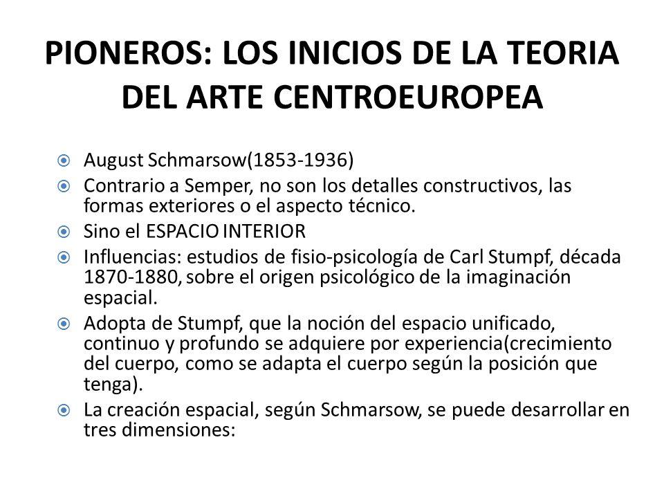 PIONEROS: LOS INICIOS DE LA TEORIA DEL ARTE CENTROEUROPEA August Schmarsow(1853-1936) Contrario a Semper, no son los detalles constructivos, las formas exteriores o el aspecto técnico.