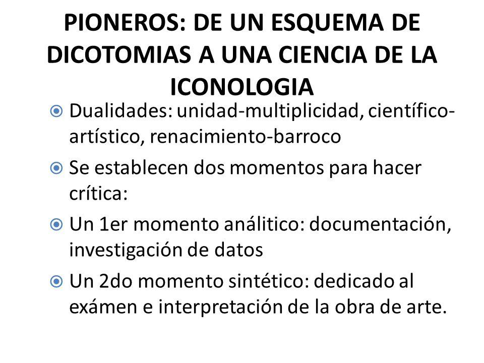 PIONEROS: DE UN ESQUEMA DE DICOTOMIAS A UNA CIENCIA DE LA ICONOLOGIA Dualidades: unidad-multiplicidad, científico- artístico, renacimiento-barroco Se