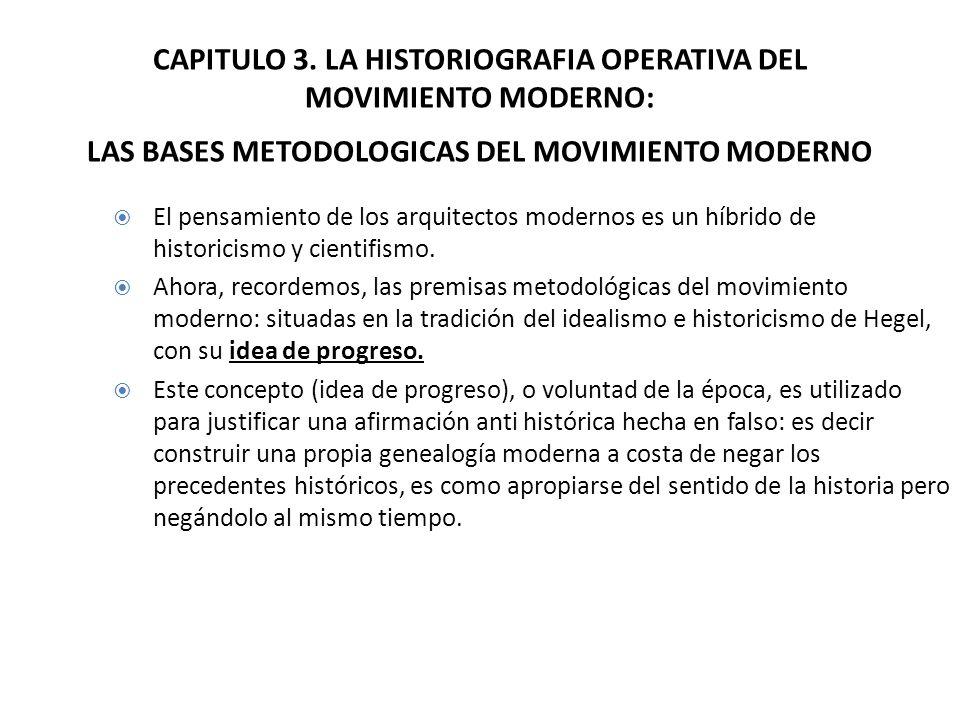 CAPITULO 3. LA HISTORIOGRAFIA OPERATIVA DEL MOVIMIENTO MODERNO: LAS BASES METODOLOGICAS DEL MOVIMIENTO MODERNO El pensamiento de los arquitectos moder