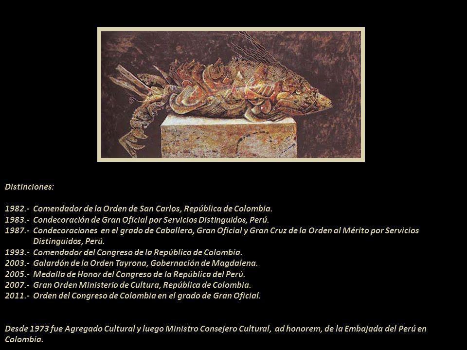Guerrero del fauno Premios.- 1 er Premio del Salón de Escritores y Artistas de Bogotá, Colombia, 1955; 1 er Premio Concurso Municipal de Pintura, 1956