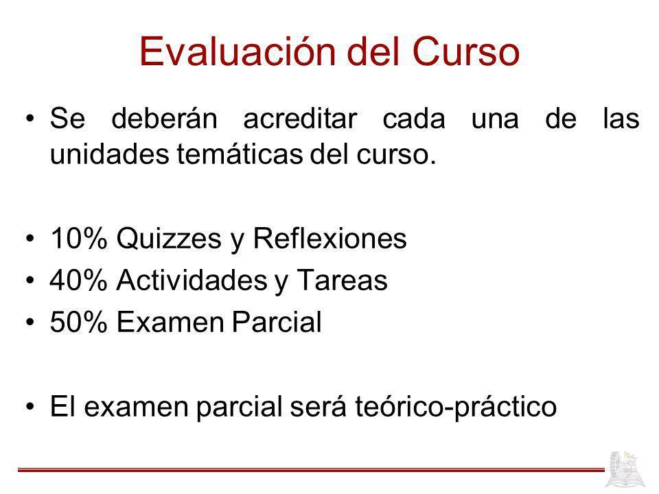 Evaluación del Curso Se deberán acreditar cada una de las unidades temáticas del curso. 10% Quizzes y Reflexiones 40% Actividades y Tareas 50% Examen
