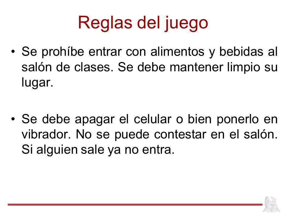 Reglas del juego Se prohíbe entrar con alimentos y bebidas al salón de clases.