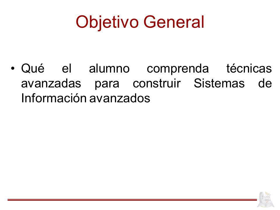 Objetivo General Qué el alumno comprenda técnicas avanzadas para construir Sistemas de Información avanzados