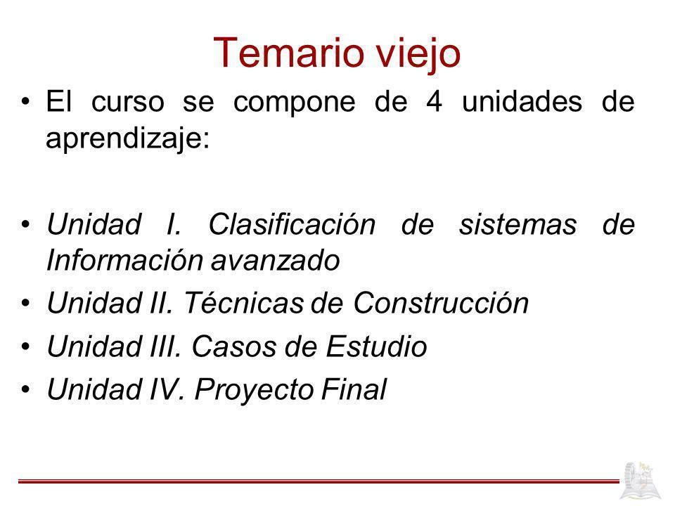 Temario viejo El curso se compone de 4 unidades de aprendizaje: Unidad I.