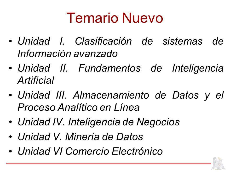 Temario Nuevo Unidad I. Clasificación de sistemas de Información avanzado Unidad II. Fundamentos de Inteligencia Artificial Unidad III. Almacenamiento
