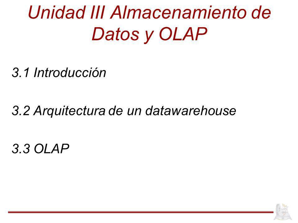 Unidad III Almacenamiento de Datos y OLAP 3.1 Introducción 3.2 Arquitectura de un datawarehouse 3.3 OLAP