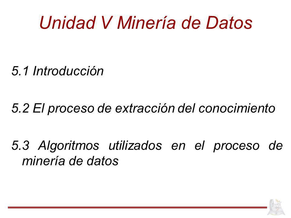 Unidad V Minería de Datos 5.1 Introducción 5.2 El proceso de extracción del conocimiento 5.3 Algoritmos utilizados en el proceso de minería de datos