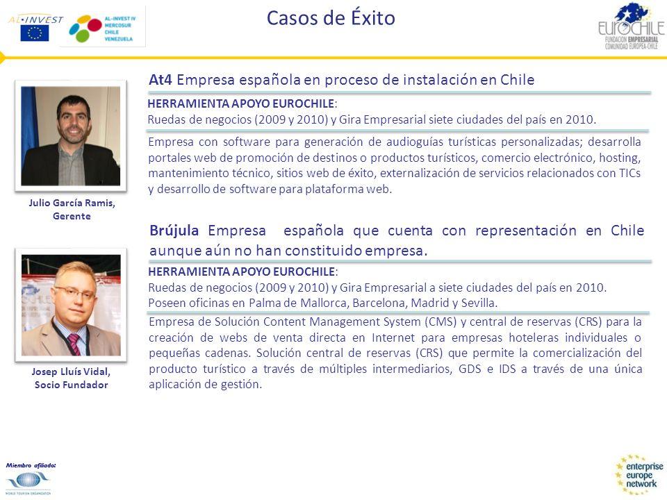 Miembro afiliado: Casos de Éxito At4 Empresa española en proceso de instalación en Chile Empresa con software para generación de audioguías turísticas personalizadas; desarrolla portales web de promoción de destinos o productos turísticos, comercio electrónico, hosting, mantenimiento técnico, sitios web de éxito, externalización de servicios relacionados con TICs y desarrollo de software para plataforma web.