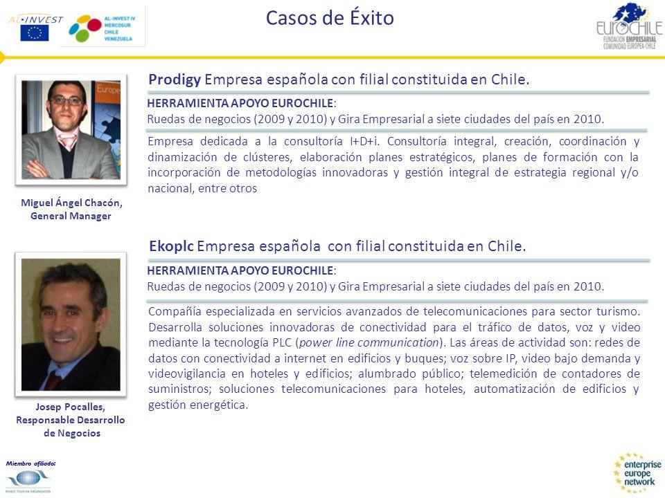 Miembro afiliado: Casos de Éxito Prodigy Empresa española con filial constituida en Chile. Empresa dedicada a la consultoría I+D+i. Consultoría integr