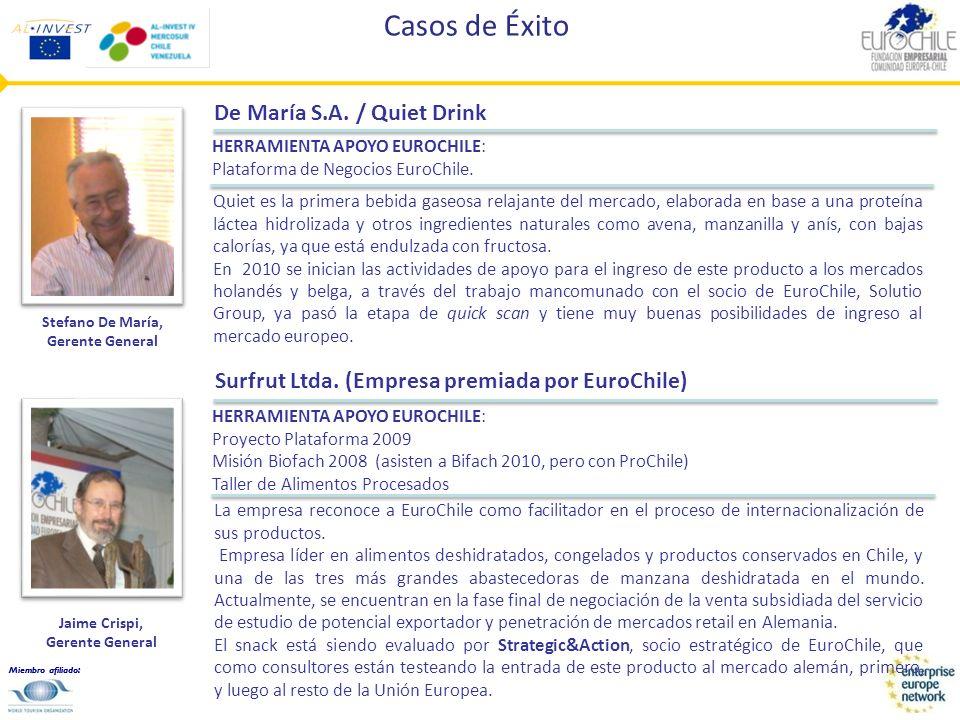 Miembro afiliado: Casos de Éxito Surfrut Ltda. (Empresa premiada por EuroChile) La empresa reconoce a EuroChile como facilitador en el proceso de inte