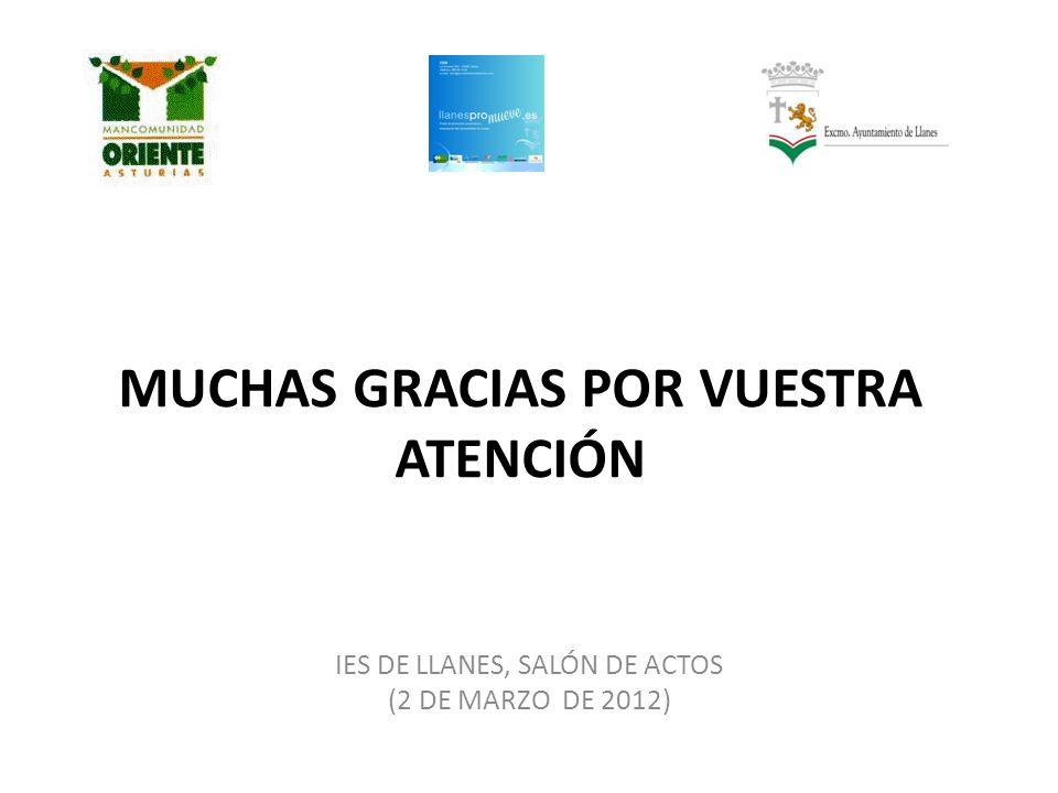MUCHAS GRACIAS POR VUESTRA ATENCIÓN IES DE LLANES, SALÓN DE ACTOS (2 DE MARZO DE 2012)