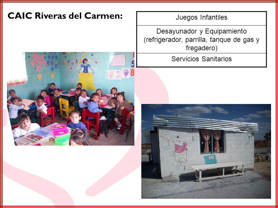 CAIC Nuevo México: Juegos Infantiles Desayunador y Equipamiento (refrigerador, parrilla, tanque de gas y fregadero) Servicios Sanitarios