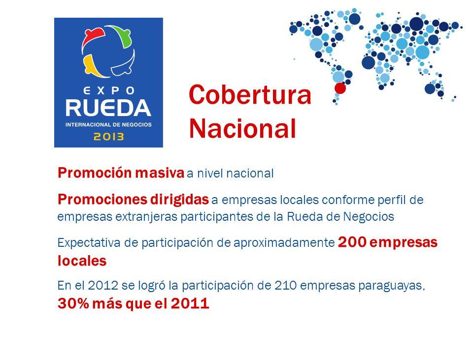 Promoción masiva a nivel nacional Promociones dirigidas a empresas locales conforme perfil de empresas extranjeras participantes de la Rueda de Negocios Expectativa de participación de aproximadamente 200 empresas locales En el 2012 se logró la participación de 210 empresas paraguayas, 30% más que el 2011 Cobertura Nacional