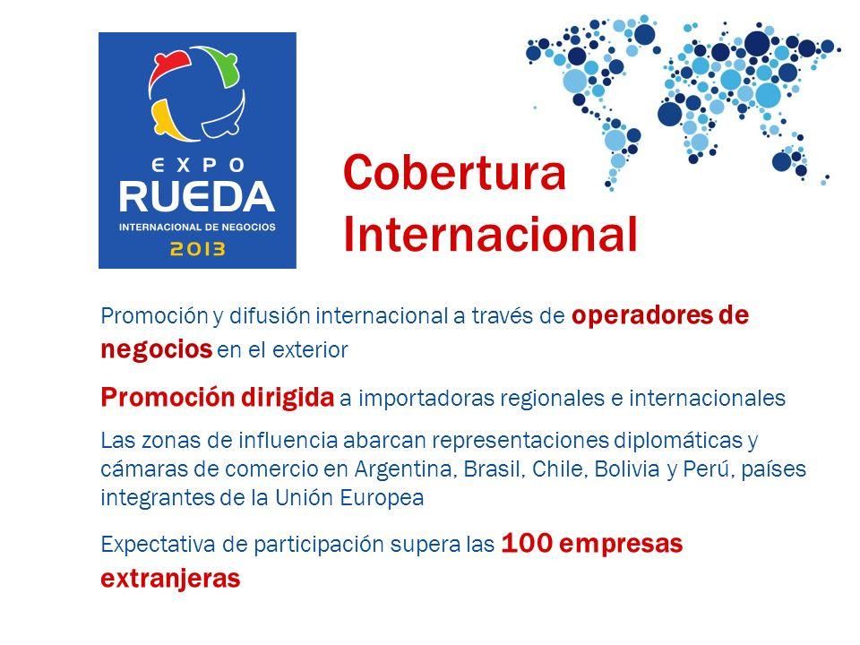 Cobertura Internacional Promoción y difusión internacional a través de operadores de negocios en el exterior Promoción dirigida a importadoras regiona