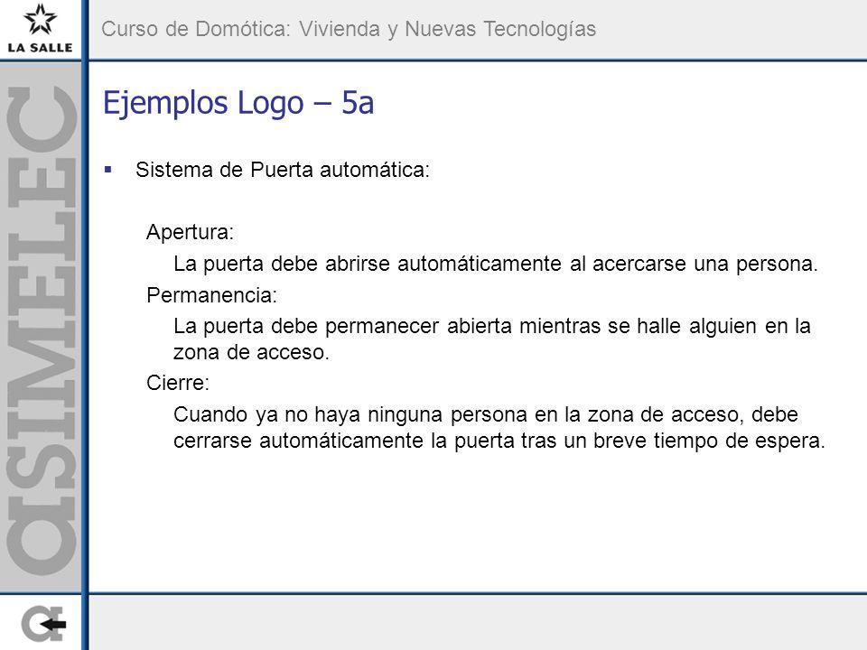 Curso de Domótica: Vivienda y Nuevas Tecnologías Ejemplos Logo – 5a Sistema de Puerta automática: Apertura: La puerta debe abrirse automáticamente al acercarse una persona.
