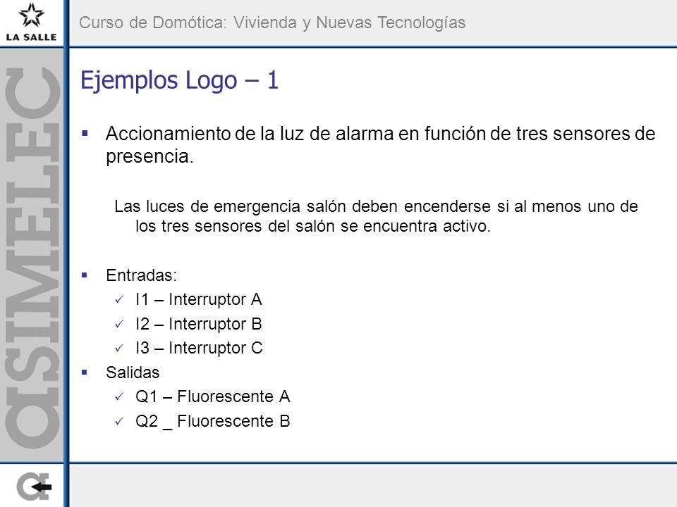 Curso de Domótica: Vivienda y Nuevas Tecnologías Ejemplos Logo – 1 Accionamiento de la luz de alarma en función de tres sensores de presencia.