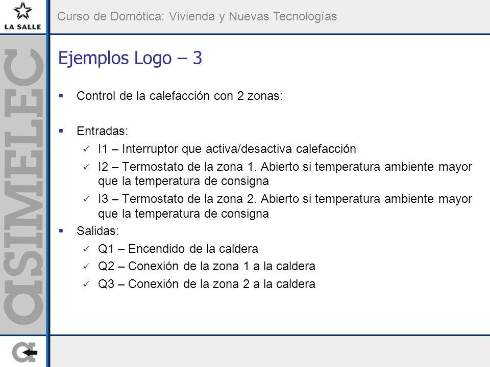 Curso de Domótica: Vivienda y Nuevas Tecnologías Ejemplos Logo – 3 Control de la calefacción con 2 zonas: Entradas: I1 – Interruptor que activa/desactiva calefacción I2 – Termostato de la zona 1.