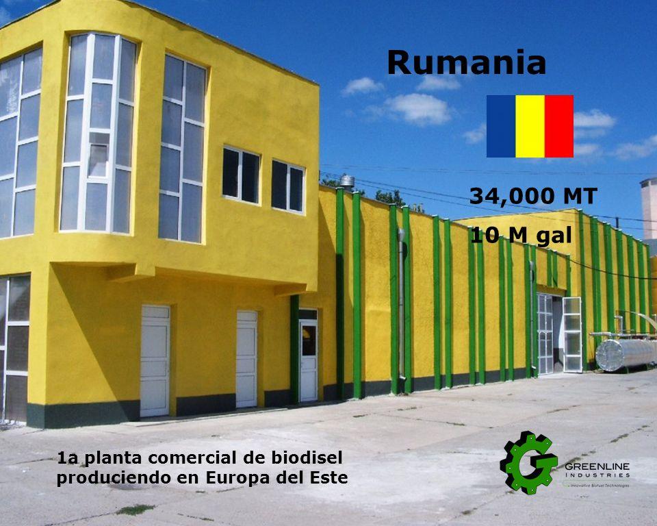 Rumania 34,000 MT 10 M gal 1a planta comercial de biodisel produciendo en Europa del Este