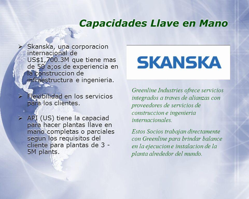 Capacidades Llave en Mano Skanska, una corporacion internacional de US$1,700.3M que tiene mas de 50 a;os de experiencia en la construccion de infraestructura e ingenieria.
