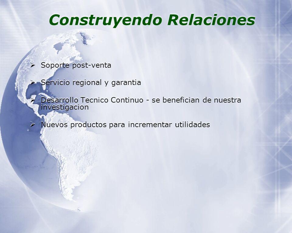 Construyendo Relaciones Soporte post-venta Servicio regional y garantia Desarrollo Tecnico Continuo - se benefician de nuestra investigacion Nuevos productos para incrementar utilidades Soporte post-venta Servicio regional y garantia Desarrollo Tecnico Continuo - se benefician de nuestra investigacion Nuevos productos para incrementar utilidades
