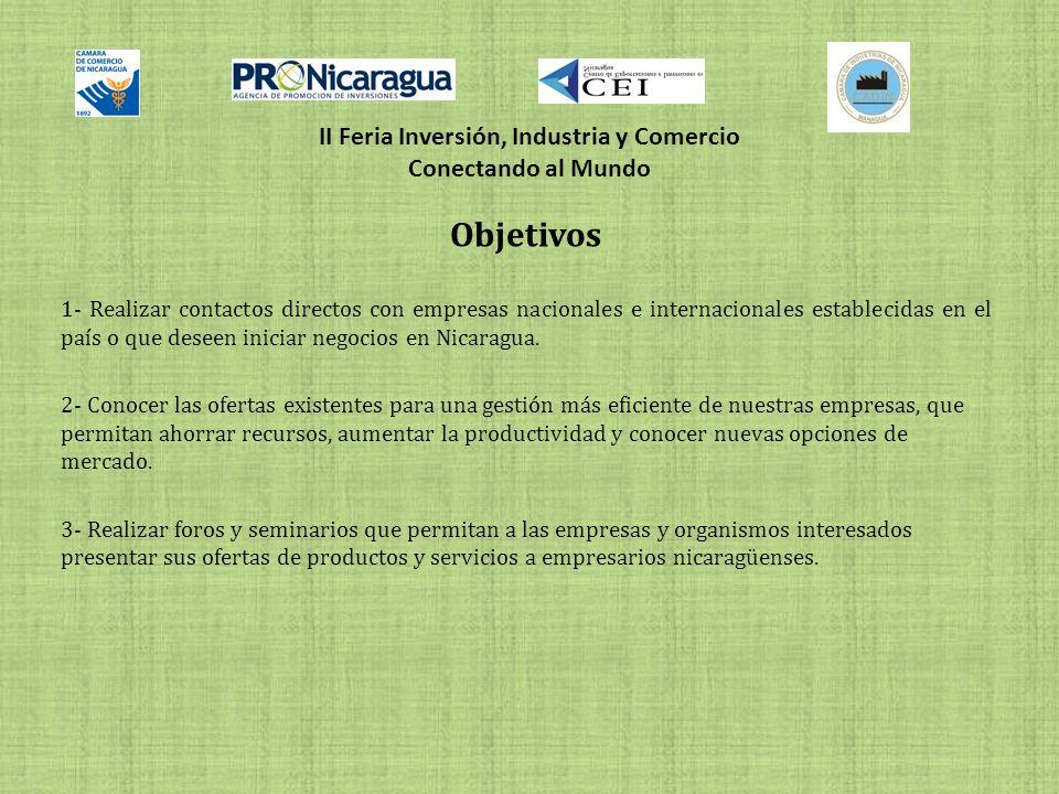 II Feria Inversión, Industria y Comercio Conectando al Mundo Objetivos 1- Realizar contactos directos con empresas nacionales e internacionales establecidas en el país o que deseen iniciar negocios en Nicaragua.