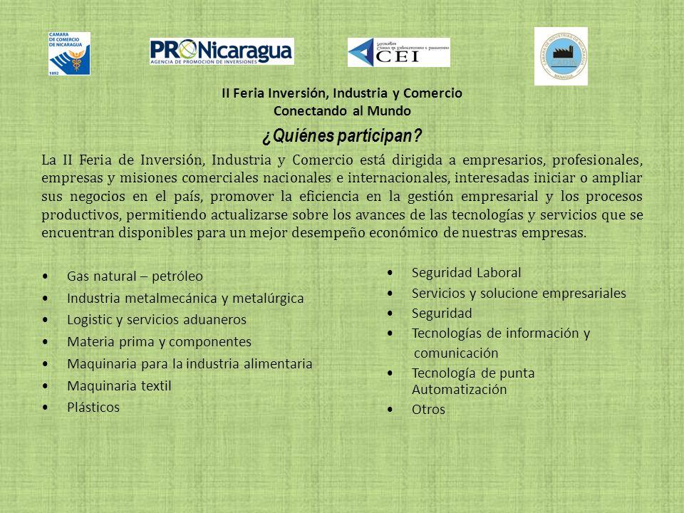 II Feria Inversión, Industria y Comercio Conectando al Mundo ¿Quiénes participan.