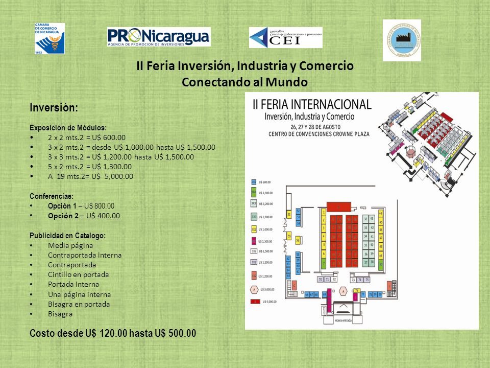 II Feria Inversión, Industria y Comercio Conectando al Mundo Inversión: Exposición de Módulos: 2 x 2 mts.2 = U$ 600.00 3 x 2 mts.2 = desde U$ 1,000.00
