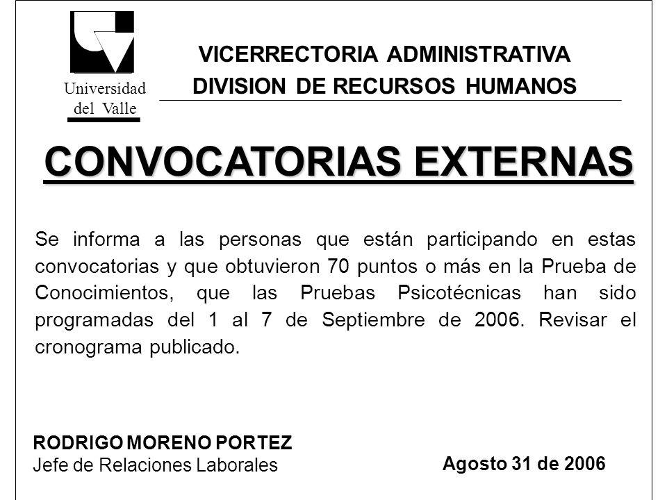 VICERRECTORIA ADMINISTRATIVA DIVISION DE RECURSOS HUMANOS CRONOGRAMA DE PRUEBAS PSICOTECNICAS CRONOGRAMA DE PRUEBAS PSICOTECNICAS CONVOCATORIAS EXTERNAS Nº CONVOCATORIAFECHA Y LUGAR CONVOCATORIAS 080-2R, 093R, 120 y 123 Viernes 1 de Septiembre de 2006 - 9:00 a.m.
