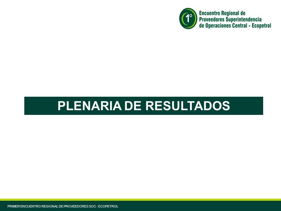 PLENARIA DE RESULTADOS PRIMER ENCUENTRO REGIONAL DE PROVEEDORES SOC - ECOPETROL