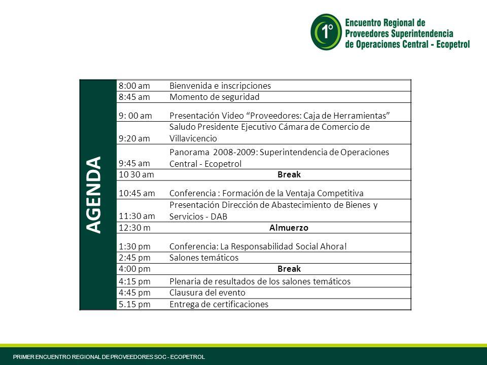 PRIMER ENCUENTRO REGIONAL DE PROVEEDORES SOC - ECOPETROL AGENDA 8:00 amBienvenida e inscripciones 8:45 amMomento de seguridad 9: 00 amPresentación Vid
