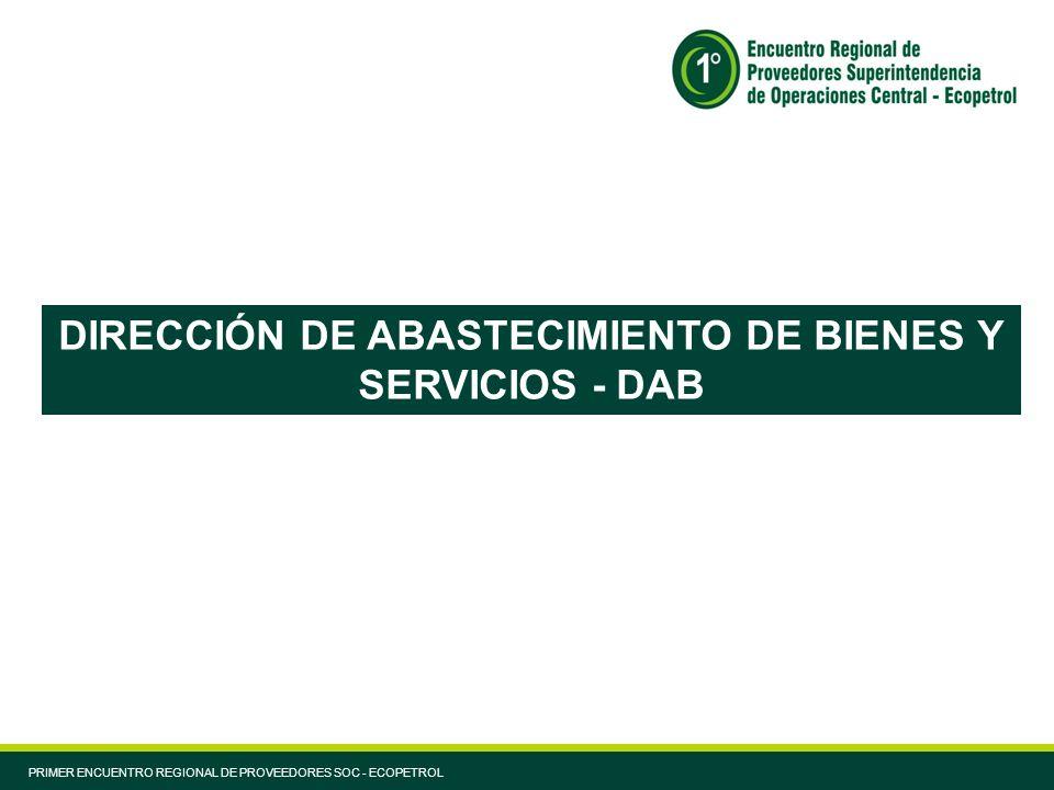 DIRECCIÓN DE ABASTECIMIENTO DE BIENES Y SERVICIOS - DAB PRIMER ENCUENTRO REGIONAL DE PROVEEDORES SOC - ECOPETROL