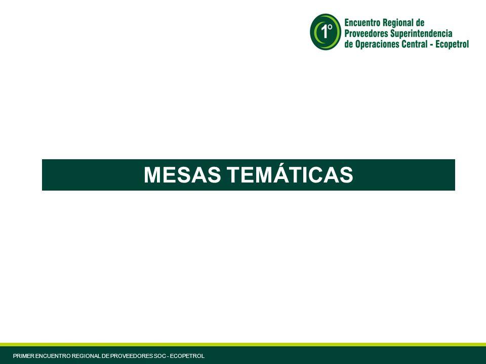 MESAS TEMÁTICAS PRIMER ENCUENTRO REGIONAL DE PROVEEDORES SOC - ECOPETROL