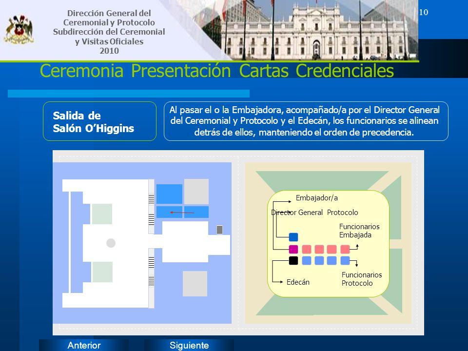 SiguienteAnterior 10 Ceremonia Presentación Cartas Credenciales Salida de Salón OHiggins Al pasar el o la Embajadora, acompañado/a por el Director Gen