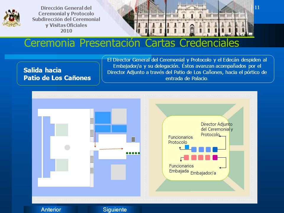 SiguienteAnterior 11 Ceremonia Presentación Cartas Credenciales Salida hacia Patio de Los Cañones El Director General del Ceremonial y Protocolo y el
