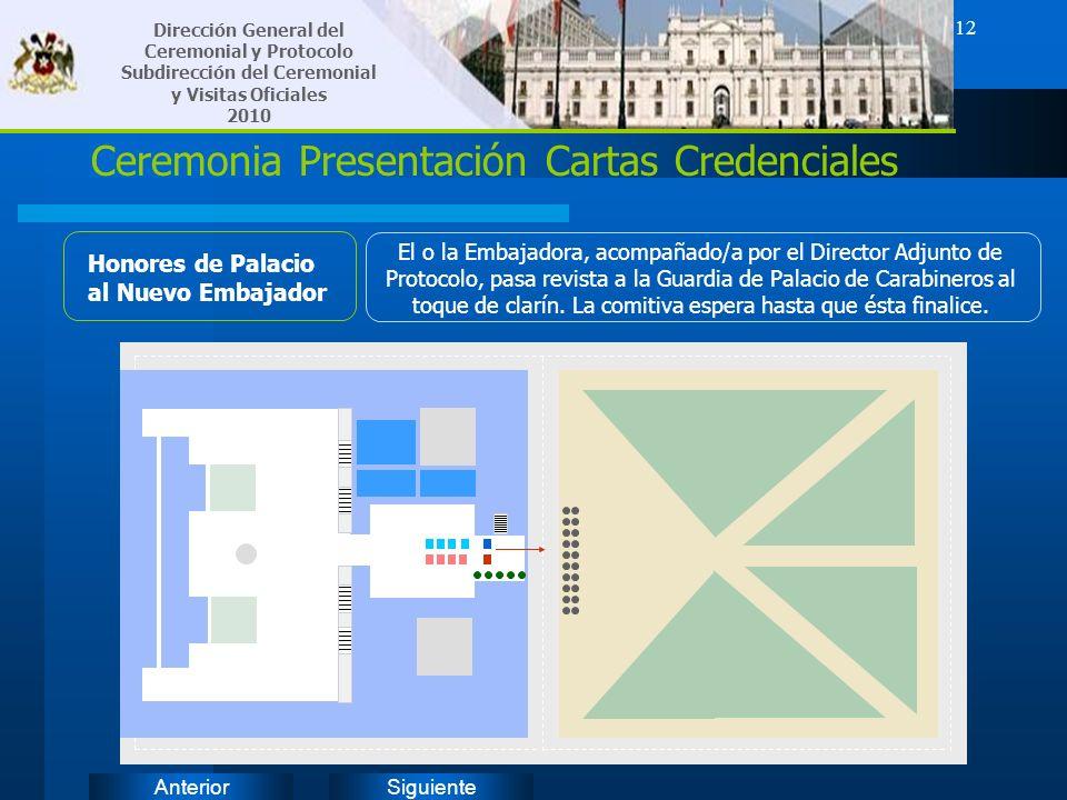 SiguienteAnterior 12 Ceremonia Presentación Cartas Credenciales Honores de Palacio al Nuevo Embajador El o la Embajadora, acompañado/a por el Director