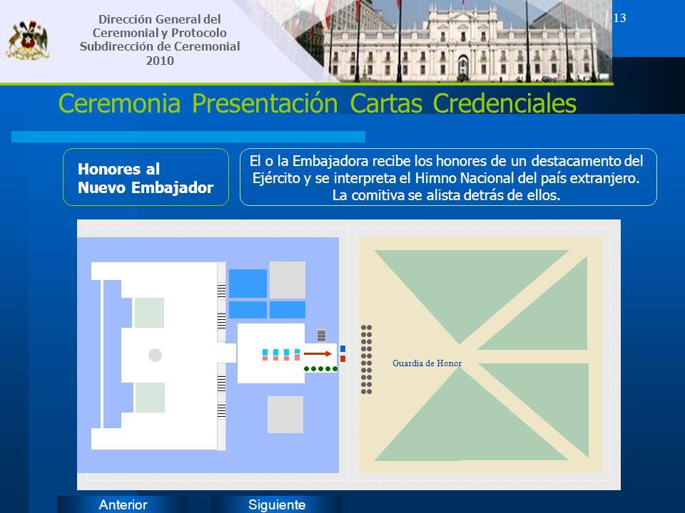 SiguienteAnterior 13 Ceremonia Presentación Cartas Credenciales Honores al Nuevo Embajador El o la Embajadora recibe los honores de un destacamento de