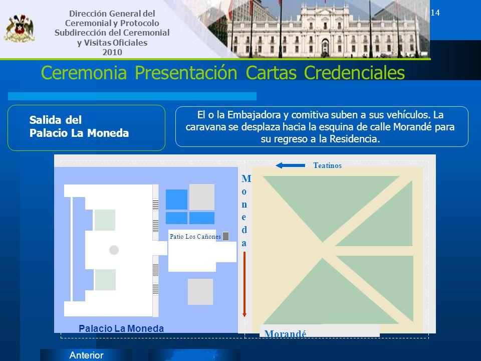 SiguienteAnterior 14 Ceremonia Presentación Cartas Credenciales Salida del Palacio La Moneda El o la Embajadora y comitiva suben a sus vehículos. La c